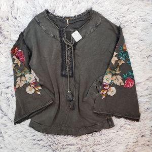 NWT Free People Embroidered Bell Sleeve Sweatshirt